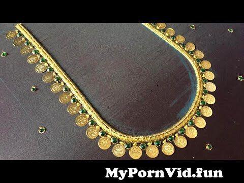 View Full Screen: simple lakshmi coin neck design in aari embroidery124kasu work for beginners.jpg